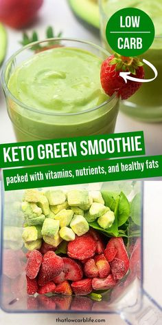 Keto Green Smoothie that is loaded with nutrients and vitamins and so tasty. - Keto Green Smoothie that is loaded with nutrients and vitamins and so tasty. Low Carb Smoothies, Green Smoothie Recipes, Weight Loss Smoothies, Green Drink Recipes, Weight Loss Drinks, Smoothie Recipes For Diabetics, Energy Smoothie Recipes, Easy Healthy Smoothie Recipes, Diabetic Smoothies