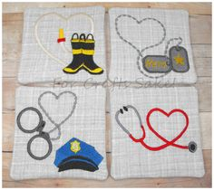 Hometown Hero Quilted Embroidered Coaster Set... can be customized to include the designs that you want. You can chose any combination of 4 ...your choices are police, fire, medic, and/or military.  #police #firefighter #medic #military #heros #embroidered #quilted #coasters #handmade @Dawn Cameron-Hollyer Cameron-Hollyer Sye