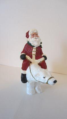 Santa Riding a Polar Bear by shoreantiques on Etsy, $22.00
