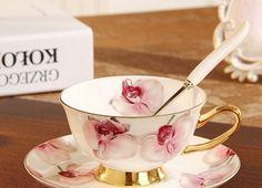 Orchid Floral Tea Cup & Saucer & Spoon Set (3 pcs)