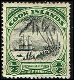 Cook Islands Scott 116 Stamp MH-Landing of Captain Cook Stamp-Mint Cook Islands 116 Stamp for sale Captain James Cook, Island Nations, Vintage Stamps, British Colonial, Cook Islands, Stamp Collecting, Science And Nature, Sailing Ships, Printmaking