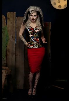 Paper Doll Productions - Psychobilly Slip Top in Vintage Movie Monster Print