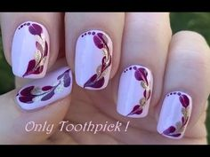Easy Toothpick Nail Art in Heart Shaped Design: Today's nail art video is a heart nail art over lavender pink nails using toothpick. Firsty apply base coat t. Simple Nail Art Designs, Best Nail Art Designs, Beautiful Nail Designs, Beautiful Nail Art, Nail Art Hacks, Nail Art Diy, Cool Nail Art, Youtube Nail Art, Toothpick Nail Art