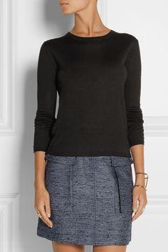 Miu Miu|Cashmere and silk-blend sweater|NET-A-PORTER.COM STELLA MCCARTNEY Manuela slub canvas mini skirt