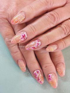 Orange and yellow glitter fade with freehand one stroke flower nail art Taken at:25/02/2014 13:34:41 Uploaded at:25/02/2014 19:40:14 Technician:Elaine Moore