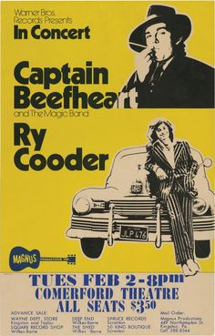 A classic boxing-style concert poster for a 1971 performance by Captain Beefheart and His Magic Band with Ry Cooder at the Comerford Theatre in Wilkes-Barre, PA Rock Posters, Concert Posters, Art Posters, Movie Posters, Rock & Pop, Rock And Roll, Captain Beefheart, Ry Cooder, Vintage Music Posters