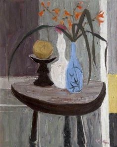 ''Interior'', circa oil on canvas by Sir William George Gillies a renowned Scottish landscape & still life painter. He experimented only briefly with portraiture early in his career, Art Grants, Still Life Flowers, Still Life Art, Art Uk, Sculpture, Flower Art, Painting & Drawing, Modern Art, Abstract Art