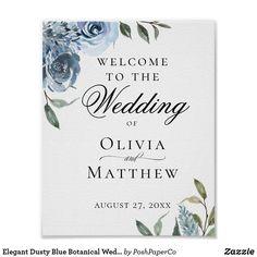 Elegant Dusty Blue Botanical Wedding Welcome Poster Wedding Welcome Signs, Wedding Signs, Wedding Ideas, Wedding Planning, Navy Wedding Colors, Wedding Blue, Autumn Wedding, Elegant Wedding, Welcome Poster
