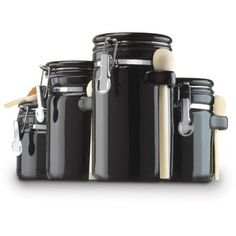 Anchor Hocking 4Piece Ceramic Canister Set Black *** Amazon Most Trusted  E Retailer