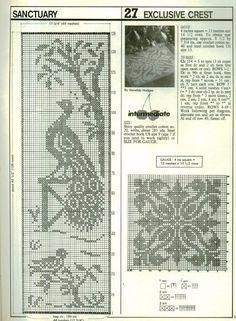 "Photo from album ""Decorative Crochet 24 on Yandex. Crochet Curtain Pattern, Crochet Curtains, Crochet Motif, Crochet Doilies, Cross Stitch Bird, Cross Stitch Designs, Cross Stitch Patterns, Thread Crochet, Crochet Stitches"