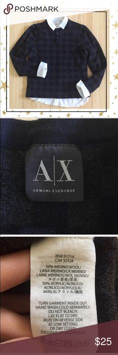 🔥CLEARANCE A/X Wool Sweater Tag with size has been remover, i would say its size small , but to be on a safe side look at the measurements. Crew neck with 4 buttons closer. Offers welcome. No trade A/X Armani Exchange Sweaters Crew & Scoop Necks