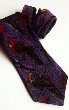 Vintage Cravat Company parrot pattern silk tie
