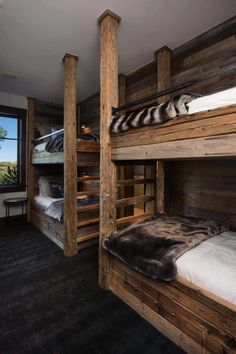 Contemporary mountain retreat in Colorado infused with warmth 6310 Cabin Bunk Beds, Bunk Bed Rooms, Cabin Loft, Bunk Beds Built In, Queen Loft Beds, Bed Design, House Design, Chair Design, Rustic Lake Houses