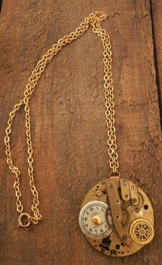 Steampunk Necklace Handmade Vintage Watch by BackAlleyDesignsINK