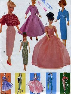Stone Hill Creek - Barbie Doll 50s Day and Party Dresses Overblouse Vogue Sewing Pattern 7241, $25.00 (http://www.stonehillcreek.com/barbie-doll-50s-day-and-party-dresses-overblouse-sewing-pattern-7241/)