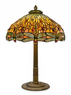 * A Tiffany Studios Favrile Glass and Gilt Bronze Drophead Dragonfly Table