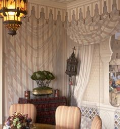 Striped trompe l'oeil curtain painted by James Alan Smith