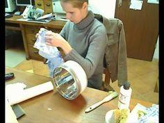 decoupage tutorial (napkin) tin can Decoupage Suitcase, Napkin Decoupage, Decoupage Furniture, Decoupage Art, Decoupage Ideas, Shabby Chic Upcycling, Mod Podge On Wood, Decoupage Tutorial, Diy Drawer Organizer