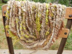 "Handspun Art Yarn ""Forest Fern"" Alpaca & Mohair, Navajo Plyed, Bulky, Natural Browns, Hand dyed Spring Green, Knit Crochet Weave Felt Create by CedarGroveRanch on Etsy"