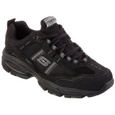 Skechers Vigor 2.0 Training Sneakers ($60) ❤ liked on Polyvore featuring men's fashion, men's shoes, men's sneakers, black, mens black sneakers, mens platform sneakers, mens black lace up shoes, mens mesh shoes and mens cross training shoes