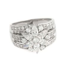 Epiphany Sterling Silver Dimonique 2.10 Ct Mixed Cut Ring Size 7 M898 #Epiphany #Flower