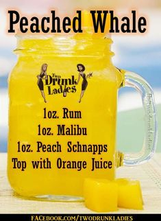 Peached whale recipe Try mango or pineapple juice instead Cocktails, Cocktail Drinks, Martinis, Liquor Drinks, Alcoholic Drinks, Refreshing Drinks, Yummy Drinks, Alcohol Drink Recipes, Peach Alcohol Drinks
