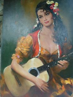Rico Tomaso Spanish Lady with Guitar, DAC Collection - Donald Art Company Collection