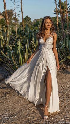 907294e8f2e3 asaf dadush 2018 bridal spaghetti strap sweetheart neckline heavily  embellished bodice side slit romantic wedding dress open back sweep train  mv -- Asaf ...