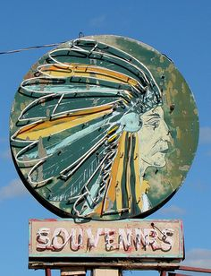 Indian Head Sign - Neon