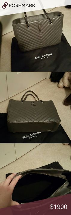 Saint Laurent Gorgeous Grey leather Saint Laurent monogram chevron top zip tote. Has dark silver hardware and authenticity card,  leather swatch and dust bag . Only carried a couple of times Saint Laurent Bags Totes