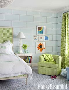 so cute! Love the blur brick wallpaper, and the soft green accents. Lovely and quaint.