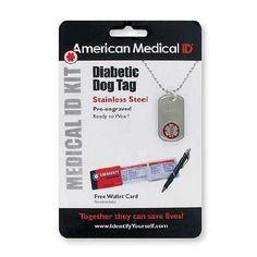 American Medical ID Diabetes Pre-Engraved Dog Tag Necklace - 1 ea.