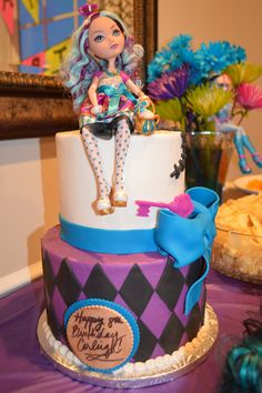 Ever After High Cake!!  Carleigh's 8th Birthday Cake made by Wendi at Sweetreats in Mechanicsburg, PA. Buttercream with fondant accents, Madeline Hatter doll. Beautiful and Delicious!!