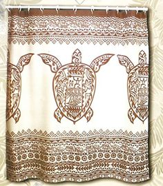 Hawaii Theme 100 Polyester Fabric Shower Curtain Brown Sea Turtle **  Details Can Be Found