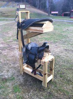 Two tiered saddle rack. Storage shelf on bottom. Tack hooks on side. Horse Stalls, Horse Barns, Horse Horse, Western Horse Tack, Western Saddles, Horse Training Tips, Horse Tips, Tack Locker, Horse Tack Rooms