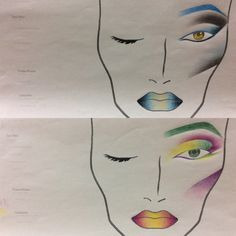 Face chart,cur crease,makeup,ombre lips,blending
