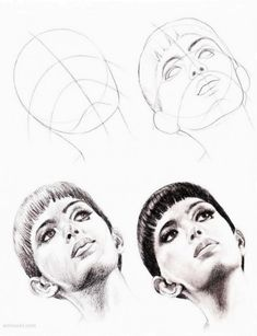 Anatomy Drawing cómo dibujar caras Más - How to Draw a Face : Here's a simple way to place the features accurately when drawing a head. First draw a vertical line down the middle of the face. Then draw a horizontal line halfway Drawing Sketches, Pencil Drawings, Art Drawings, Sketching, Horse Drawings, Pencil Art, Drawing Heads, Painting & Drawing, Drawing Drawing