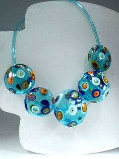 Unique Hollow beads glass lampworked necklace - by Astrid Riedel