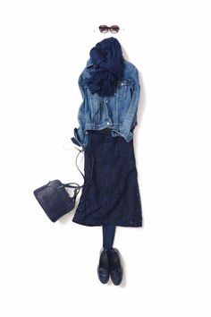 Pin on 着こなし Pin on 着こなし Long Skirt Fashion, Denim Fashion, Fashion Dresses, Womens Fashion, Mode Outfits, Fall Outfits, Simple Outfits, Casual Outfits, Wardrobe Sets