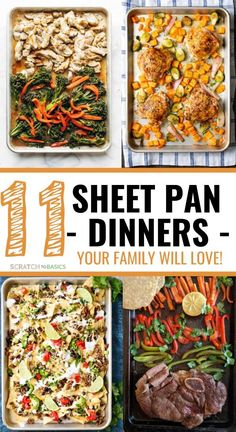 Here are 11 sheet pan dinners worth making tonight! Easy cleanup weeknight meals that come together quickly! Here is a list of 11 sheet pan dinners that are perfect for your weeknight meal. A quick and delicious meal with easy cleanup! Dinner For One, Dinners To Make, One Pot Meals, Kid Meals, Toddler Dinners, Toddler Lunches, Family Meals, Healthy Weeknight Meals, Quick Meals