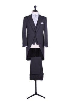 Grooms charcoal grey herringbone slim fit tailcoat with matching traditional single breasted waistcoat