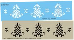 Primitive Pineapple STENCIL Colonial Folk Art Historic Welcome Home Border in Crafts, Art Supplies, Decorative & Tole Painting Stencil Font, Stencil Patterns, Stencils, Painted Floor Cloths, Pineapple Art, Tola, Shop Till You Drop, Country Primitive, Painted Signs