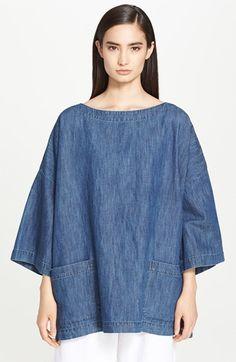 eskandar Patch Pocket Cotton & Linen Denim Tunic available at #Nordstrom