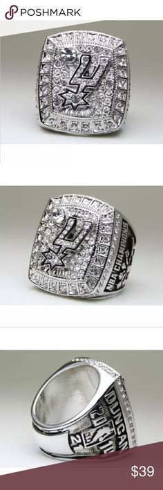 San Antonio Spurs Fan Edition 2014 Champ Ring 🏀🏆🏀New in sealed packaging. This beautiful 18k gold plated or silver ring with exquisite cubic zirconias is the perfect statement ring true fans. Makes a great gift and looks great on your finger or displayed. Sizes 7-14🏆🏀🏆 Accessories Jewelry