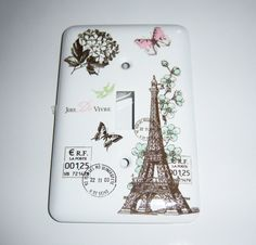 Parisian themed  light switch cover by MoanasUniqueDesigns on Etsy, $10.00