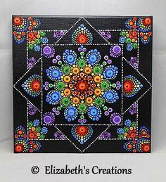 Mandala Art -  Mandala Painting - Painted Mandala Rainbow- Hand Painted Mandala -Mandala  - Dot Art - Pointillism - Mediation Mandala