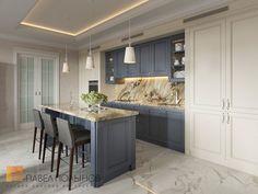 Фото дизайн кухни из проекта «Дизайн квартиры в жилом комплексе «ММДЦ Москва Сити», американская классика, 120 кв.м.»