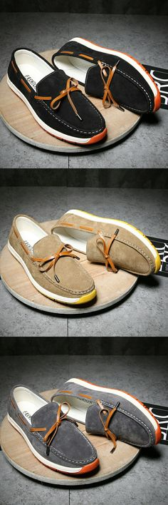 $28.98 <Click to buy> Genuine Leather Men Moccasins Boat Shoes