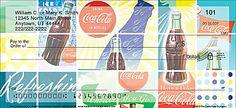 Coca Cola personal checks ~ 7 different retro designs plus matching checkbook covers ~ http://foodiechecks.com/Coca-Cola.shtml