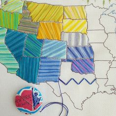 Stitch the States large US map embroidery or by raisinguprubies